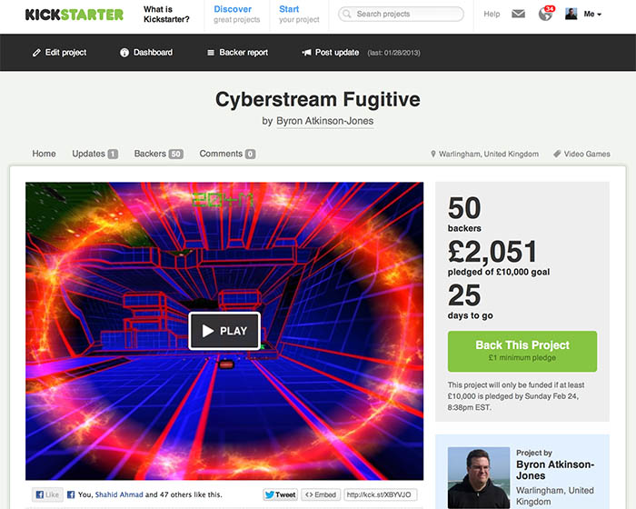 The Cyberstream Fugitive campaign on Kickstarter